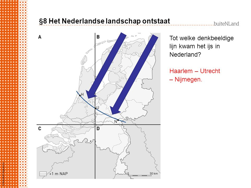 §8 Het Nederlandse landschap ontstaat De verschillende ijstongen (letter …......) duwden de grond aan de voorkant en aan de zijkanten op tot stuwwallen (=…......).