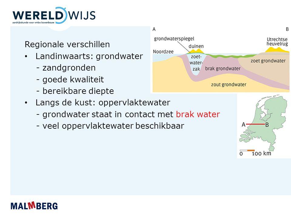 Regionale verschillen Landinwaarts: grondwater - zandgronden - goede kwaliteit - bereikbare diepte Langs de kust: oppervlaktewater - grondwater staat in contact met brak water - veel oppervlaktewater beschikbaar