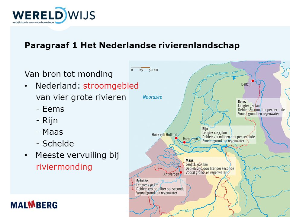 Paragraaf 1 Het Nederlandse rivierenlandschap Van bron tot monding Nederland: stroomgebied van vier grote rivieren - Eems - Rijn - Maas - Schelde Meeste vervuiling bij riviermonding