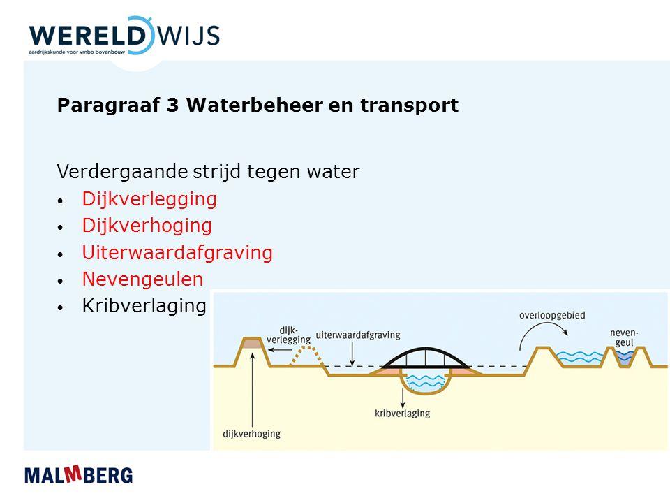 Paragraaf 3 Waterbeheer en transport Verdergaande strijd tegen water Dijkverlegging Dijkverhoging Uiterwaardafgraving Nevengeulen Kribverlaging