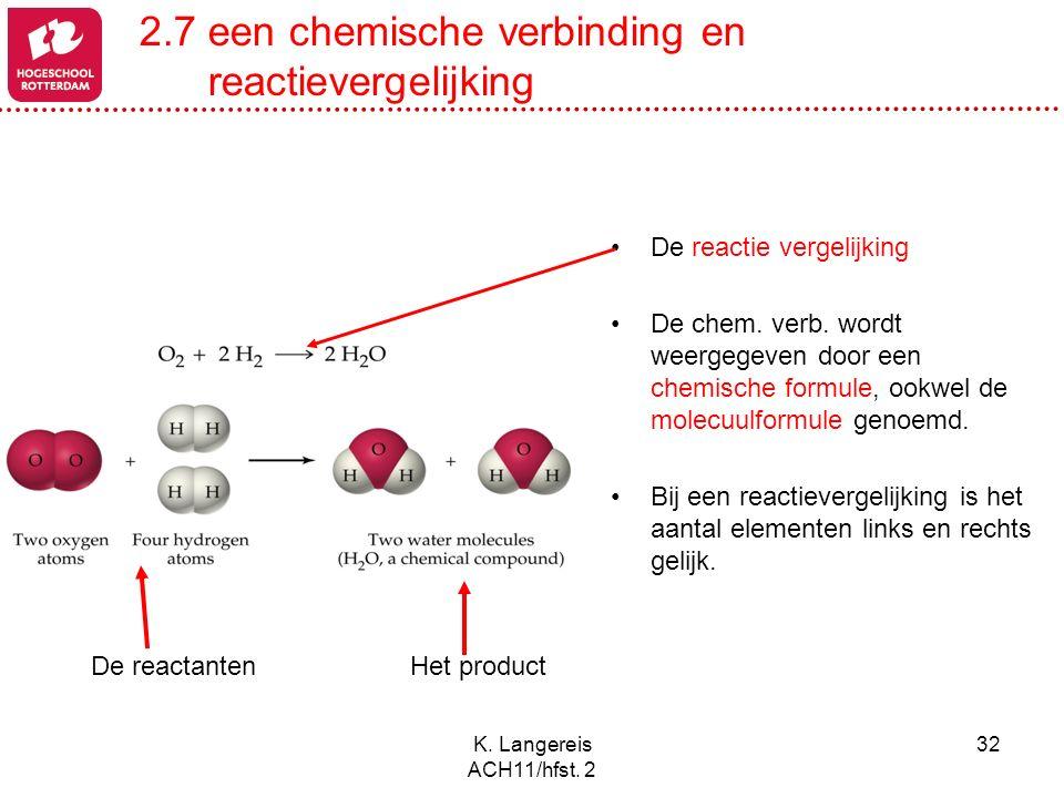 K. Langereis ACH11/hfst. 2 32 De reactantenHet product De reactie vergelijking De chem. verb. wordt weergegeven door een chemische formule, ookwel de