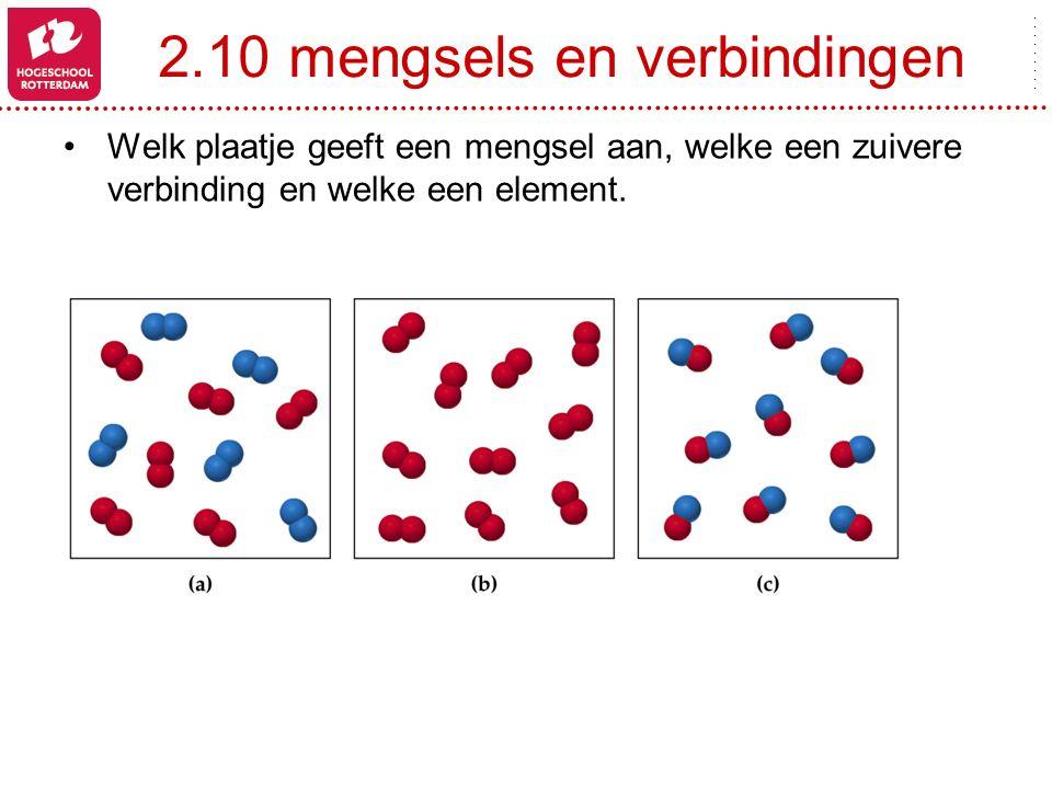 2.10 mengsels en verbindingen Welk plaatje geeft een mengsel aan, welke een zuivere verbinding en welke een element.