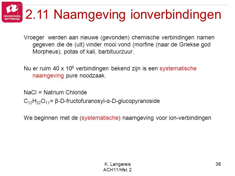 K. Langereis ACH11/hfst. 2 36 Vroeger werden aan nieuwe (gevonden) chemische verbindingen namen gegeven die de (uit) vinder mooi vond (morfine (naar d