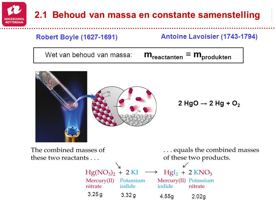 2.1 Behoud van massa en constante samenstelling 2 HgO → 2 Hg + O 2 Wet van behoud van massa: m reactanten = m produkten Robert Boyle (1627-1691) Antoi
