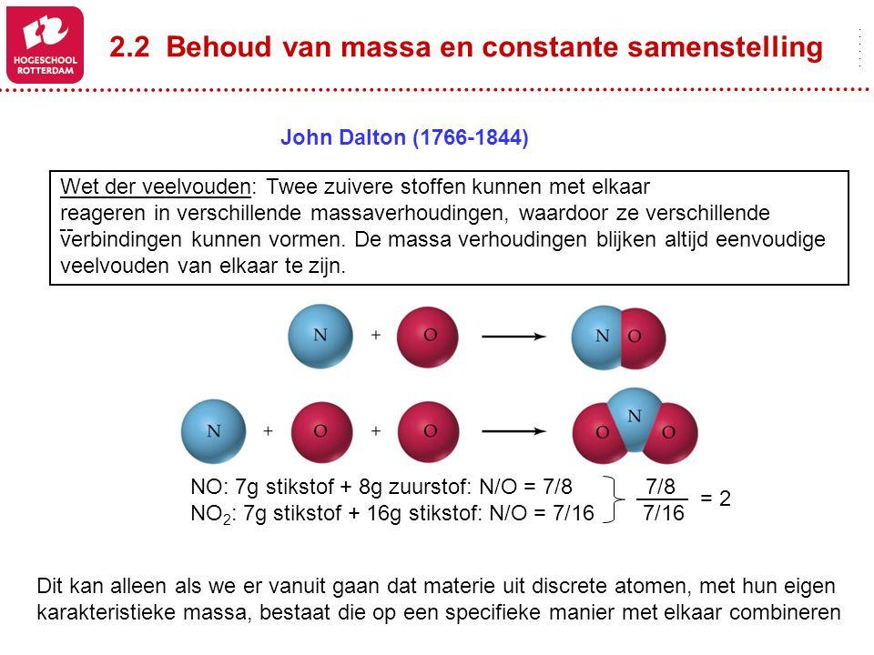 Wet der veelvouden: Twee zuivere stoffen kunnen met elkaar reageren in verschillende massaverhoudingen, waardoor ze verschillende verbindingen kunnen