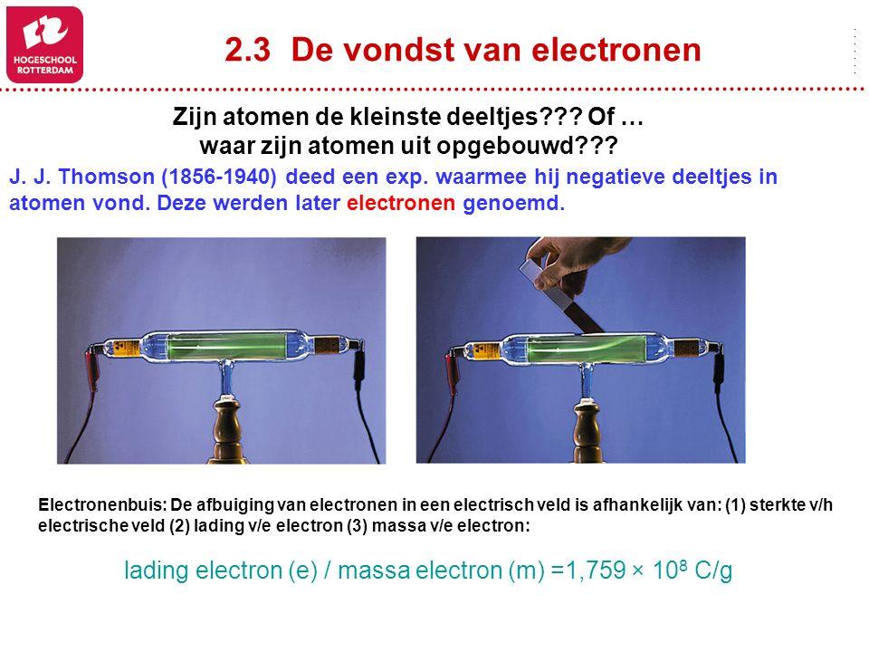2.3 De vondst van electronen Zijn atomen de kleinste deeltjes??? Of … waar zijn atomen uit opgebouwd??? J. J. Thomson (1856-1940) deed een exp. waarme