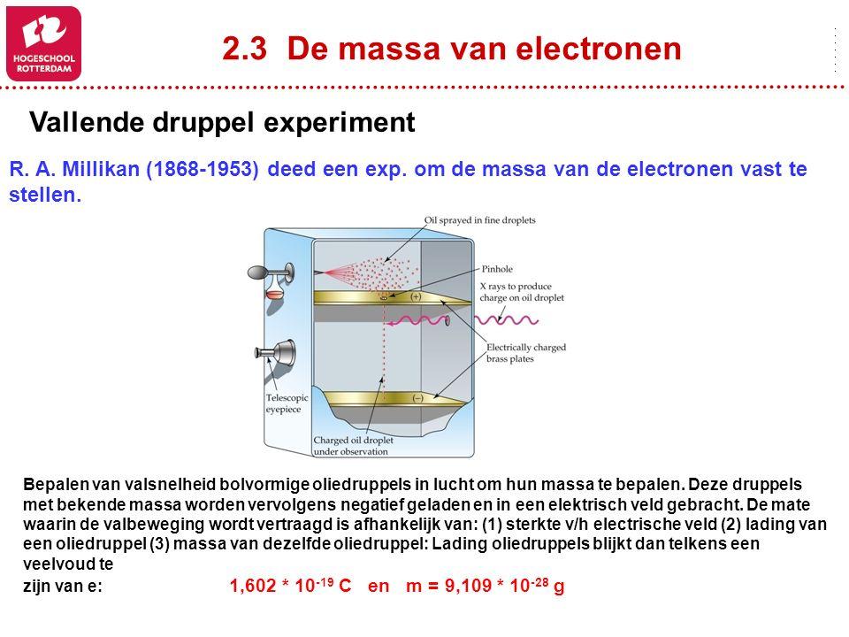 2.3 De massa van electronen Vallende druppel experiment R. A. Millikan (1868-1953) deed een exp. om de massa van de electronen vast te stellen. Bepale
