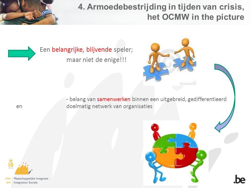 4. Armoedebestrijding in tijden van crisis, het OCMW in the picture Een belangrijke, blijvende speler; maar niet de enige!!! - belang van samenwerken