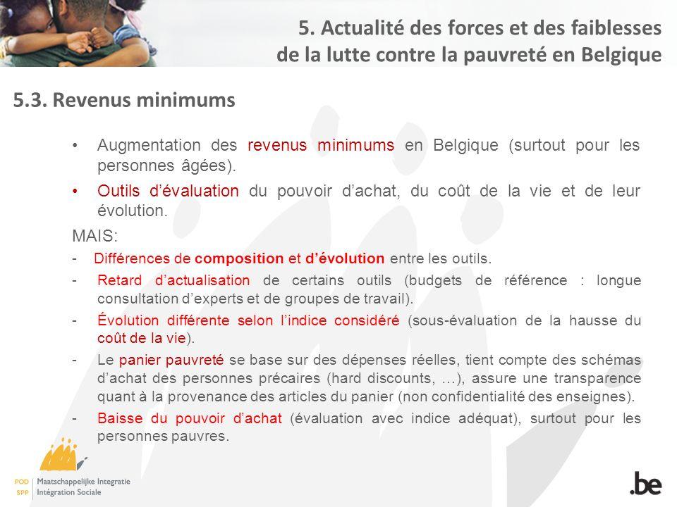 5.3. Revenus minimums Augmentation des revenus minimums en Belgique (surtout pour les personnes âgées). Outils d'évaluation du pouvoir d'achat, du coû