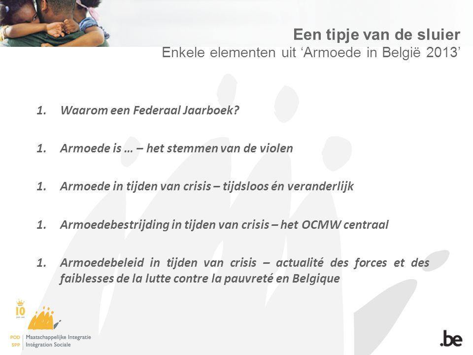Een tipje van de sluier Enkele elementen uit 'Armoede in België 2013' 1.Waarom een Federaal Jaarboek.