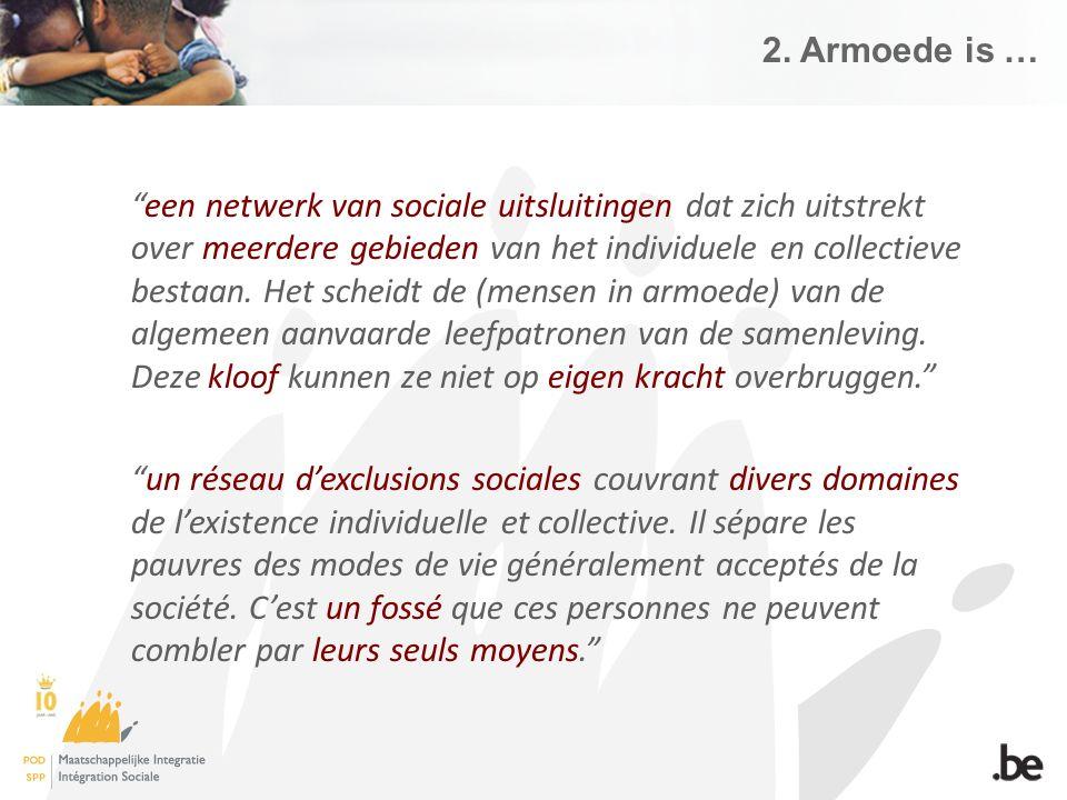 """2. Armoede is … """"een netwerk van sociale uitsluitingen dat zich uitstrekt over meerdere gebieden van het individuele en collectieve bestaan. Het schei"""