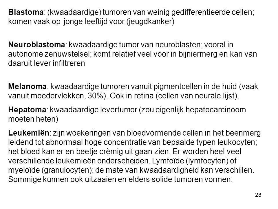 28 Blastoma: (kwaadaardige) tumoren van weinig gedifferentieerde cellen; komen vaak op jonge leeftijd voor (jeugdkanker) Neuroblastoma: kwaadaardige tumor van neuroblasten; vooral in autonome zenuwstelsel; komt relatief veel voor in bijniermerg en kan van daaruit lever infiltreren Melanoma: kwaadaardige tumoren vanuit pigmentcellen in de huid (vaak vanuit moedervlekken, 30%).