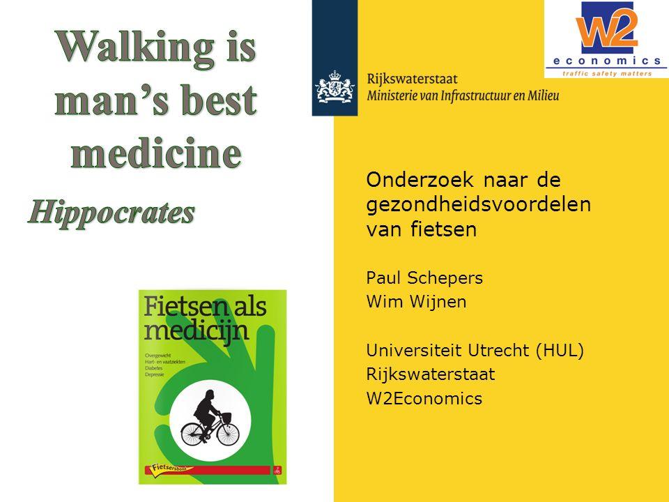 Onderzoek naar de gezondheidsvoordelen van fietsen Paul Schepers Wim Wijnen Universiteit Utrecht (HUL) Rijkswaterstaat W2Economics
