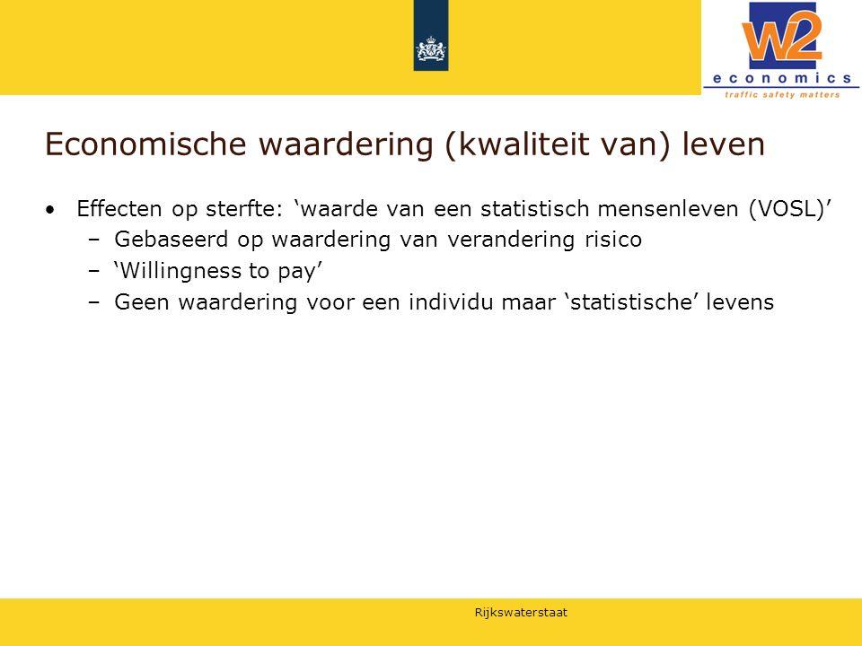 Rijkswaterstaat Economische waardering (kwaliteit van) leven Effecten op sterfte: 'waarde van een statistisch mensenleven (VOSL)' –Gebaseerd op waarde