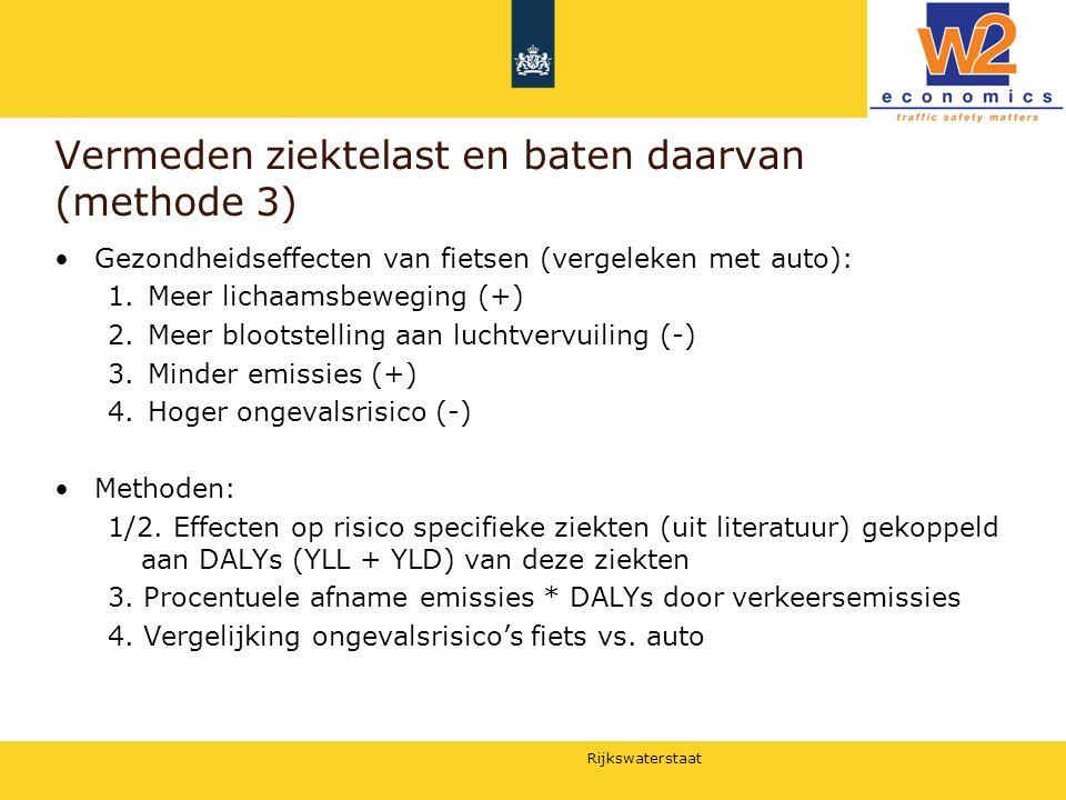 Rijkswaterstaat Vermeden ziektelast en baten daarvan (methode 3) Gezondheidseffecten van fietsen (vergeleken met auto): 1.Meer lichaamsbeweging (+) 2.