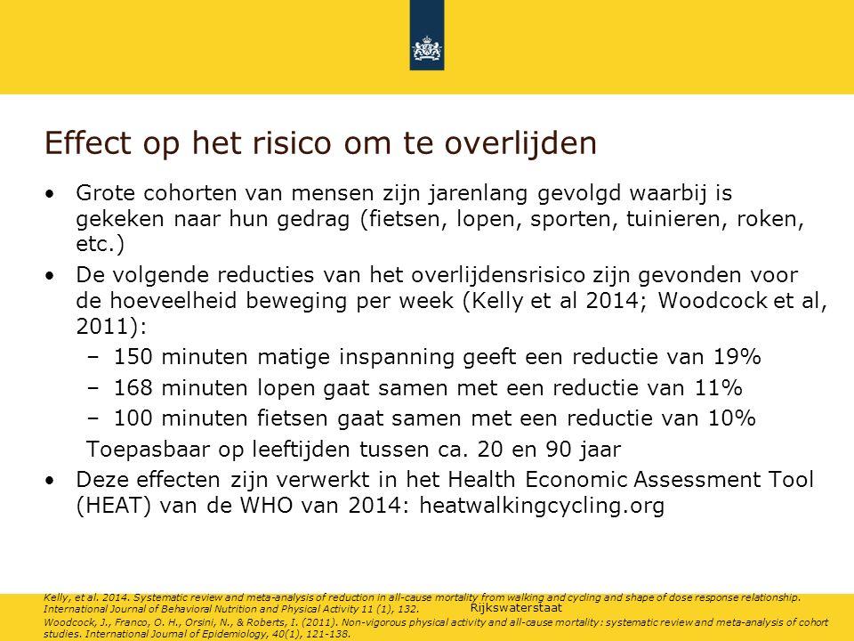 Rijkswaterstaat Effect op het risico om te overlijden Grote cohorten van mensen zijn jarenlang gevolgd waarbij is gekeken naar hun gedrag (fietsen, lo