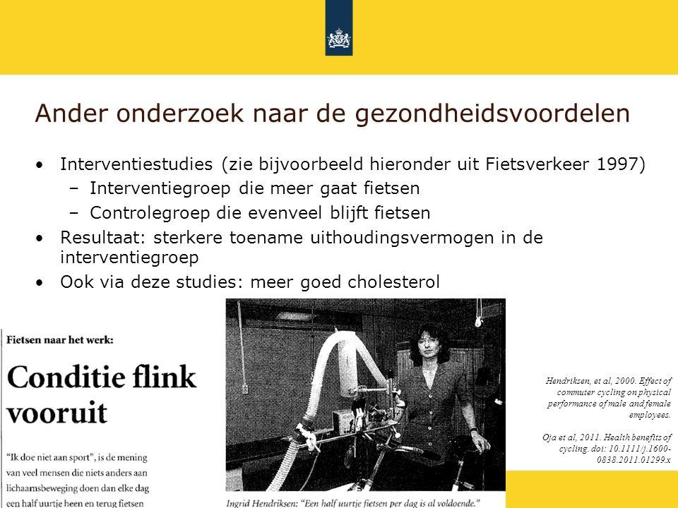 Rijkswaterstaat Ander onderzoek naar de gezondheidsvoordelen Interventiestudies (zie bijvoorbeeld hieronder uit Fietsverkeer 1997) –Interventiegroep d