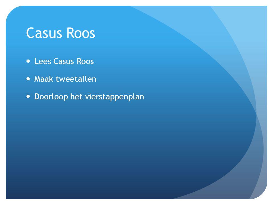 Casus Roos Lees Casus Roos Maak tweetallen Doorloop het vierstappenplan