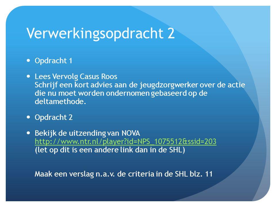Verwerkingsopdracht 2 Opdracht 1 Lees Vervolg Casus Roos Schrijf een kort advies aan de jeugdzorgwerker over de actie die nu moet worden ondernomen gebaseerd op de deltamethode.