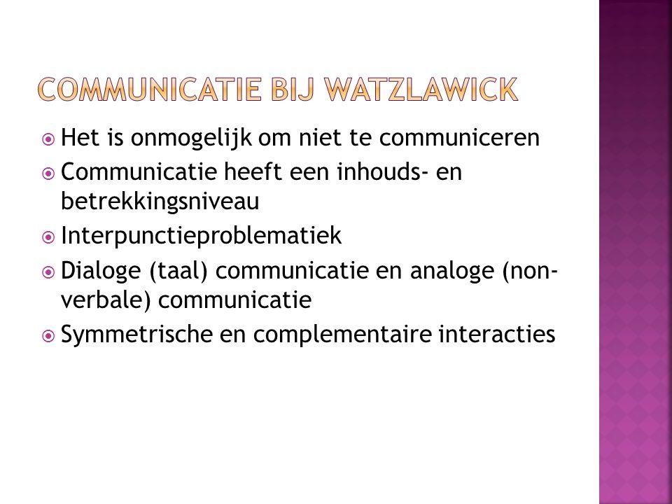 Het is onmogelijk om niet te communiceren  Communicatie heeft een inhouds- en betrekkingsniveau  Interpunctieproblematiek  Dialoge (taal) communicatie en analoge (non- verbale) communicatie  Symmetrische en complementaire interacties