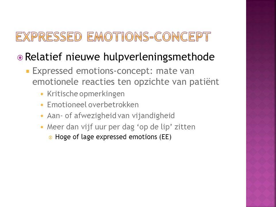 Relatief nieuwe hulpverleningsmethode  Expressed emotions-concept: mate van emotionele reacties ten opzichte van patiënt Kritische opmerkingen Emotioneel overbetrokken Aan- of afwezigheid van vijandigheid Meer dan vijf uur per dag 'op de lip' zitten  Hoge of lage expressed emotions (EE)