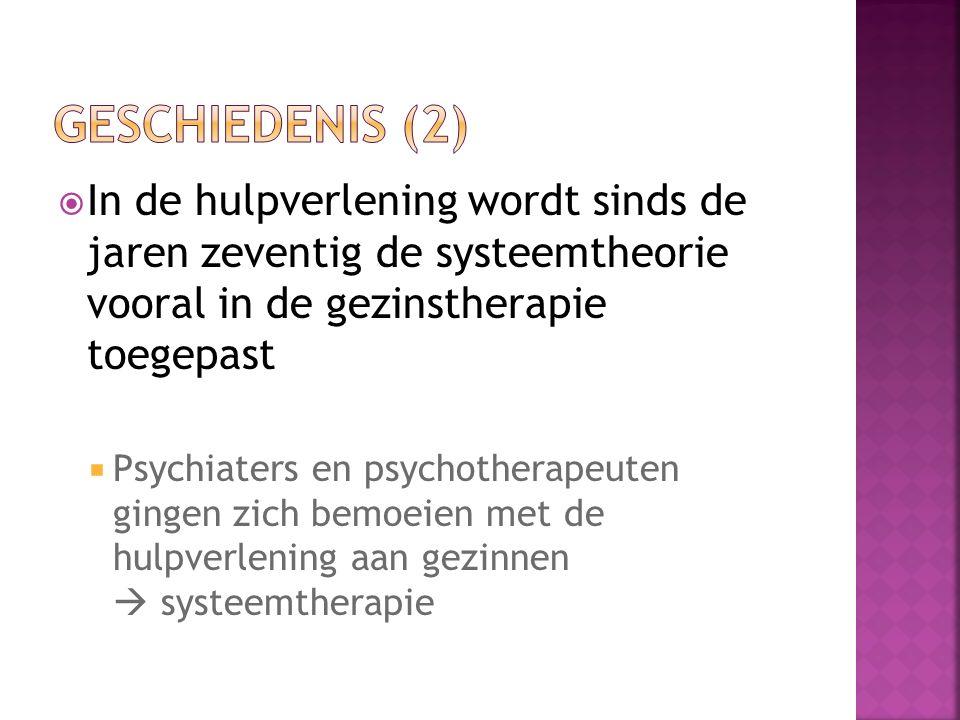  In de hulpverlening wordt sinds de jaren zeventig de systeemtheorie vooral in de gezinstherapie toegepast  Psychiaters en psychotherapeuten gingen zich bemoeien met de hulpverlening aan gezinnen  systeemtherapie