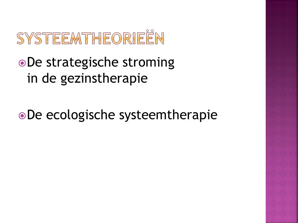  De strategische stroming in de gezinstherapie  De ecologische systeemtherapie