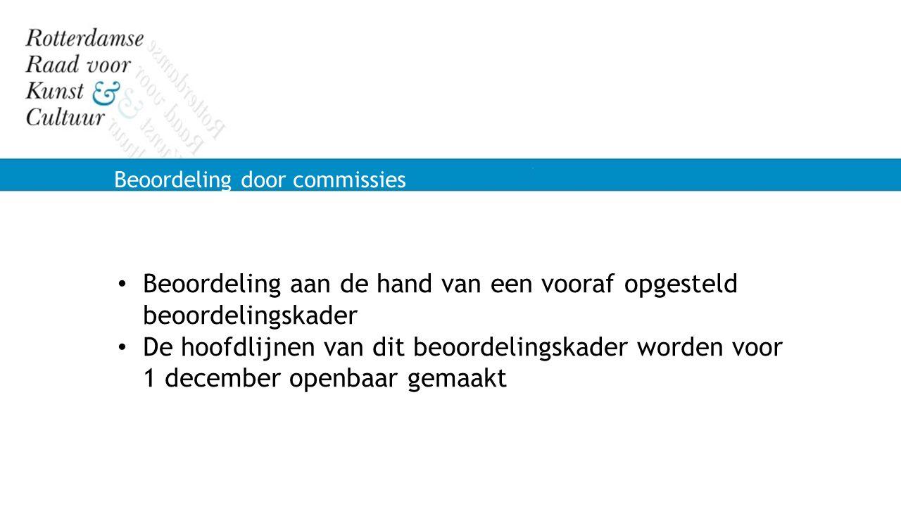 Beoordeling door commissies Beoordeling aan de hand van een vooraf opgesteld beoordelingskader De hoofdlijnen van dit beoordelingskader worden voor 1