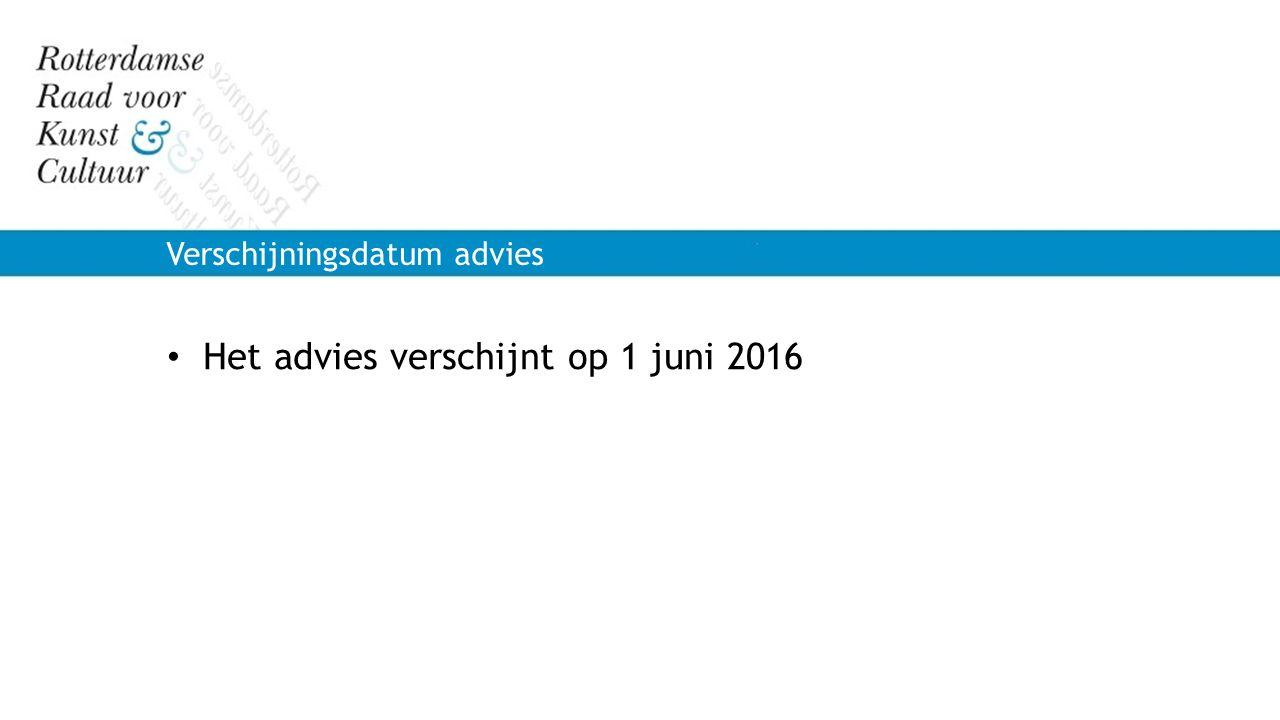 Het advies verschijnt op 1 juni 2016 Verschijningsdatum advies