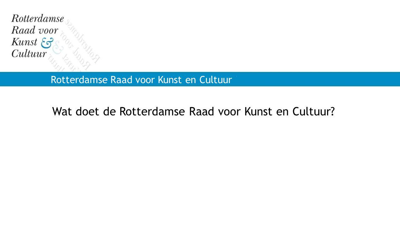 Rotterdamse Raad voor Kunst en Cultuur Wat doet de Rotterdamse Raad voor Kunst en Cultuur?