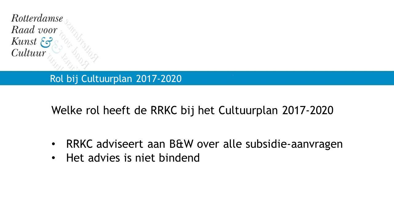 Rol bij Cultuurplan 2017-2020 Welke rol heeft de RRKC bij het Cultuurplan 2017-2020 RRKC adviseert aan B&W over alle subsidie-aanvragen Het advies is