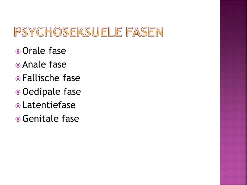  Orale fase  Anale fase  Fallische fase  Oedipale fase  Latentiefase  Genitale fase