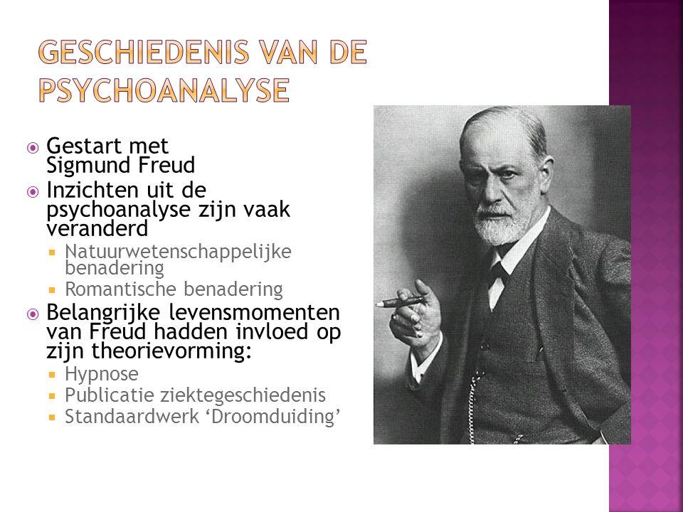  Gestart met Sigmund Freud  Inzichten uit de psychoanalyse zijn vaak veranderd  Natuurwetenschappelijke benadering  Romantische benadering  Belangrijke levensmomenten van Freud hadden invloed op zijn theorievorming:  Hypnose  Publicatie ziektegeschiedenis  Standaardwerk 'Droomduiding'