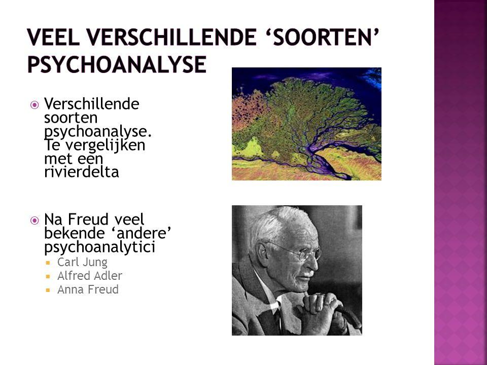  Verschillende soorten psychoanalyse. Te vergelijken met een rivierdelta  Na Freud veel bekende 'andere' psychoanalytici  Carl Jung  Alfred Adler