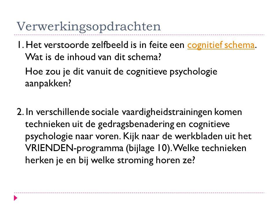 Verwerkingsopdrachten 1. Het verstoorde zelfbeeld is in feite een cognitief schema. Wat is de inhoud van dit schema?cognitief schema Hoe zou je dit va