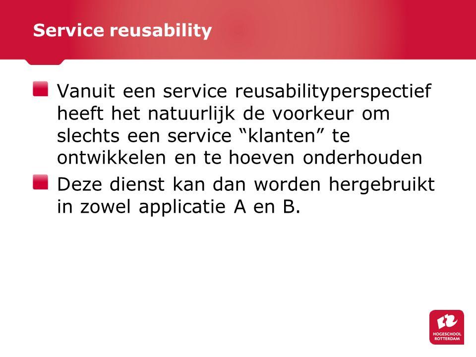 Service reusability Vanuit een service reusabilityperspectief heeft het natuurlijk de voorkeur om slechts een service klanten te ontwikkelen en te hoeven onderhouden Deze dienst kan dan worden hergebruikt in zowel applicatie A en B.