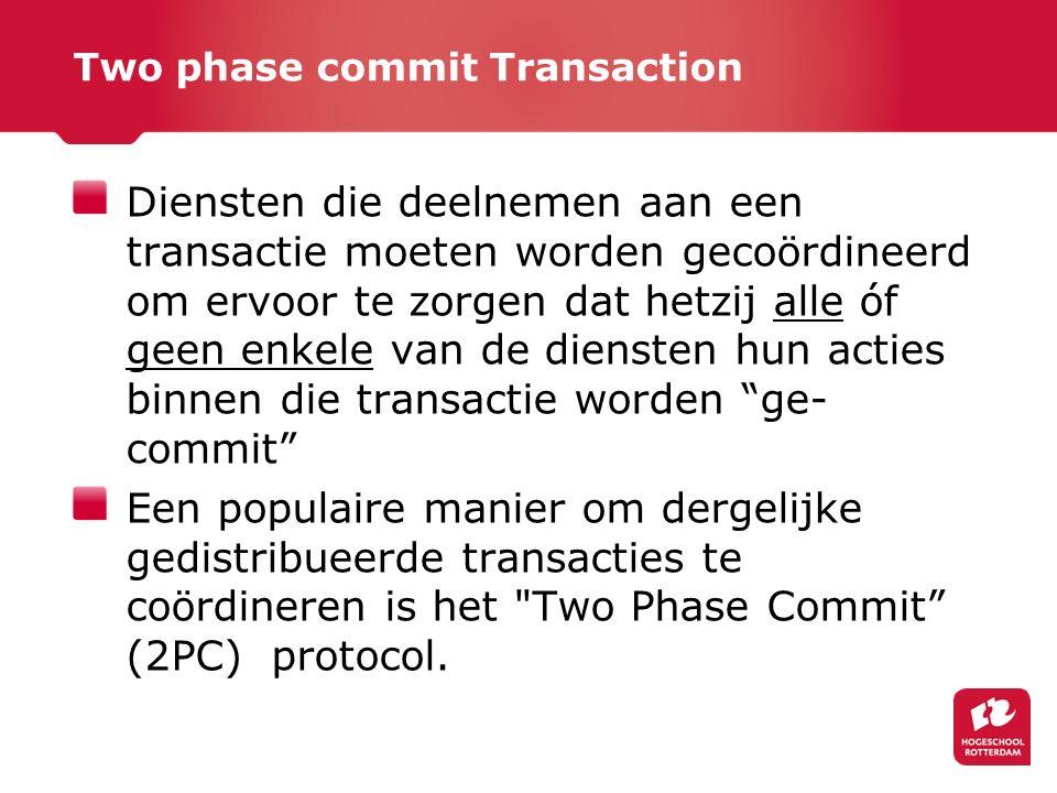 Two phase commit Transaction Diensten die deelnemen aan een transactie moeten worden gecoördineerd om ervoor te zorgen dat hetzij alle óf geen enkele van de diensten hun acties binnen die transactie worden ge- commit Een populaire manier om dergelijke gedistribueerde transacties te coördineren is het Two Phase Commit (2PC) protocol.