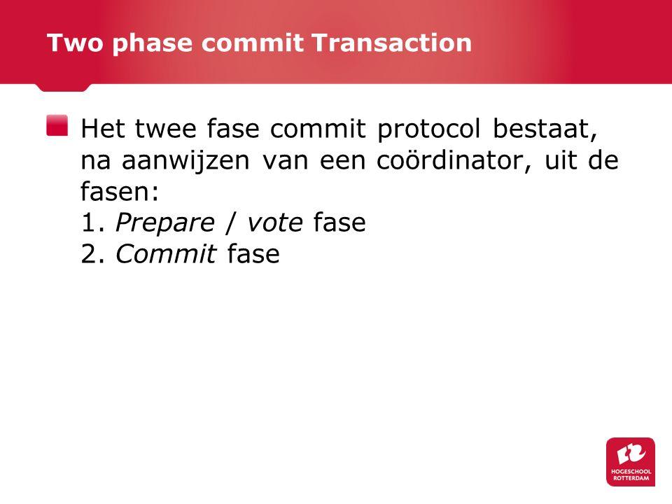 Two phase commit Transaction Het twee fase commit protocol bestaat, na aanwijzen van een coördinator, uit de fasen: 1.