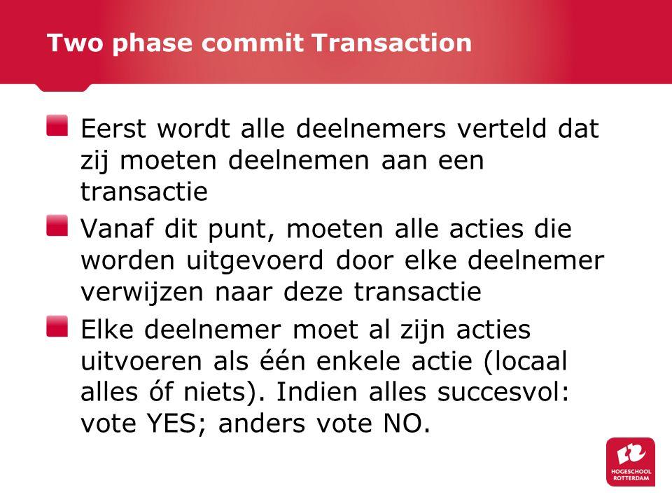 Two phase commit Transaction Eerst wordt alle deelnemers verteld dat zij moeten deelnemen aan een transactie Vanaf dit punt, moeten alle acties die worden uitgevoerd door elke deelnemer verwijzen naar deze transactie Elke deelnemer moet al zijn acties uitvoeren als één enkele actie (locaal alles óf niets).