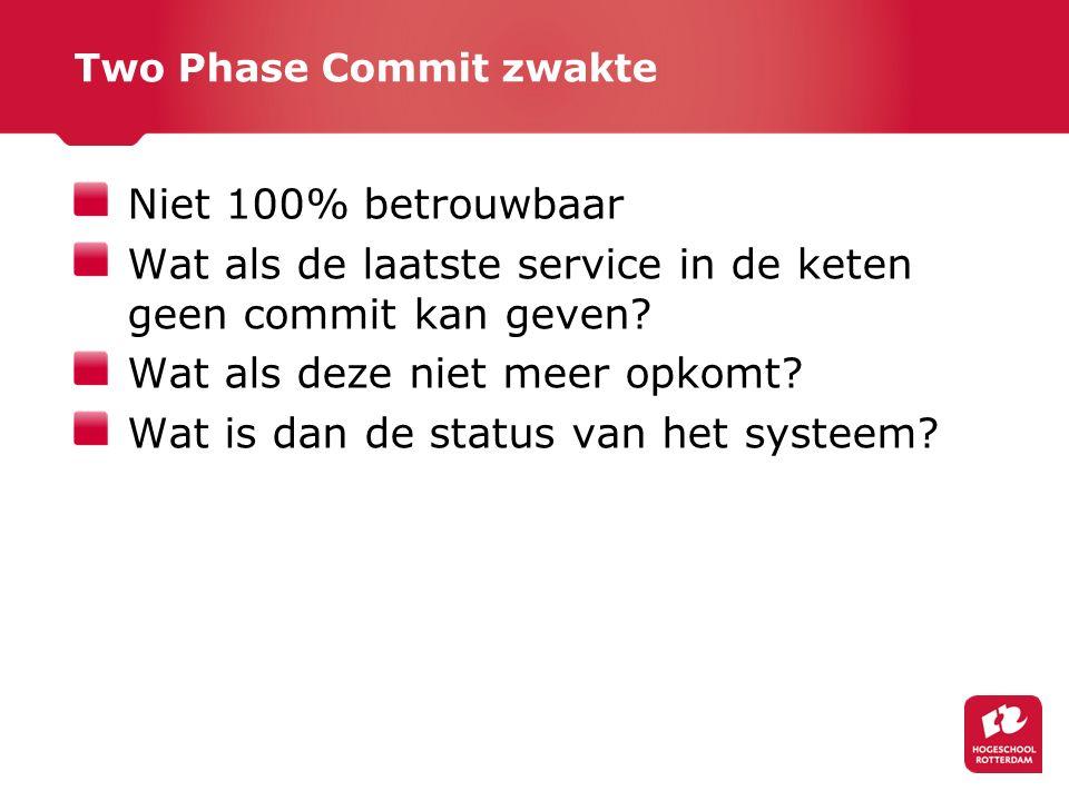 Two Phase Commit zwakte Niet 100% betrouwbaar Wat als de laatste service in de keten geen commit kan geven.