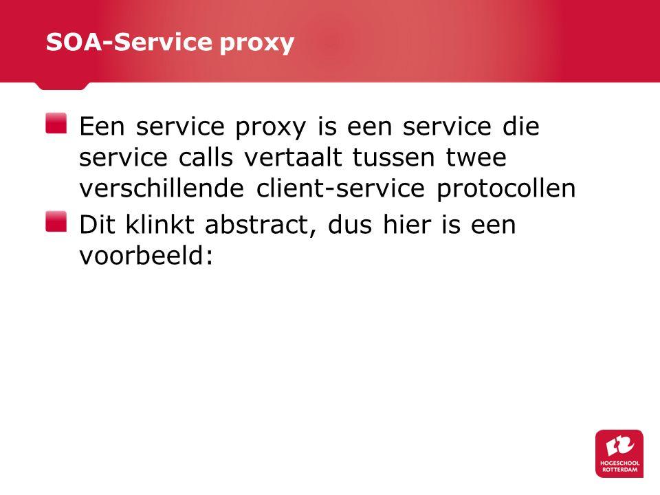 SOA-Service proxy Een service proxy is een service die service calls vertaalt tussen twee verschillende client-service protocollen Dit klinkt abstract, dus hier is een voorbeeld: