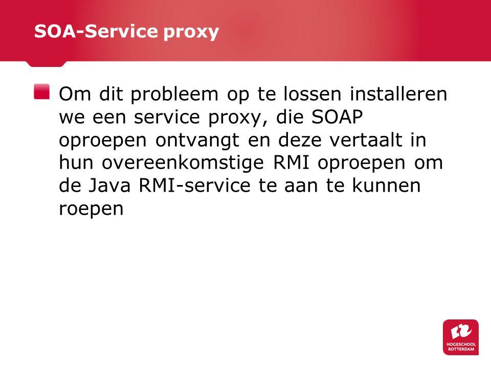 SOA-Service proxy Om dit probleem op te lossen installeren we een service proxy, die SOAP oproepen ontvangt en deze vertaalt in hun overeenkomstige RMI oproepen om de Java RMI-service te aan te kunnen roepen