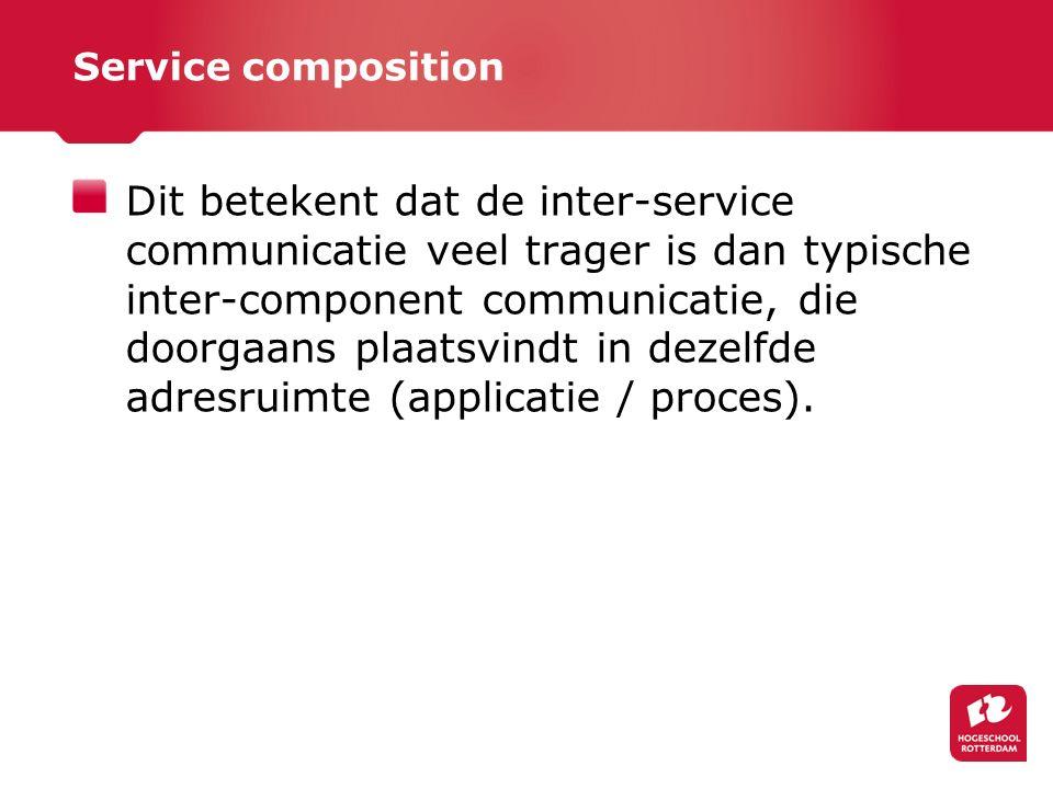 Service composition Dit betekent dat de inter-service communicatie veel trager is dan typische inter-component communicatie, die doorgaans plaatsvindt in dezelfde adresruimte (applicatie / proces).