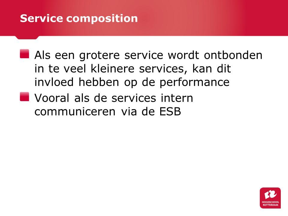 Service composition Als een grotere service wordt ontbonden in te veel kleinere services, kan dit invloed hebben op de performance Vooral als de services intern communiceren via de ESB