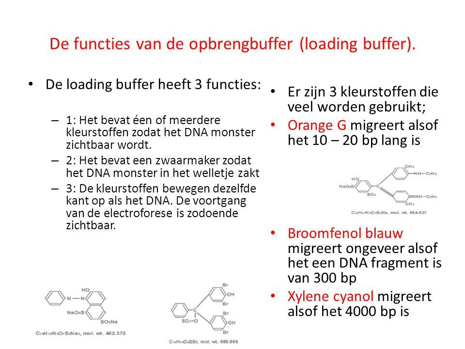 De functies van de opbrengbuffer (loading buffer). De loading buffer heeft 3 functies: – 1: Het bevat éen of meerdere kleurstoffen zodat het DNA monst