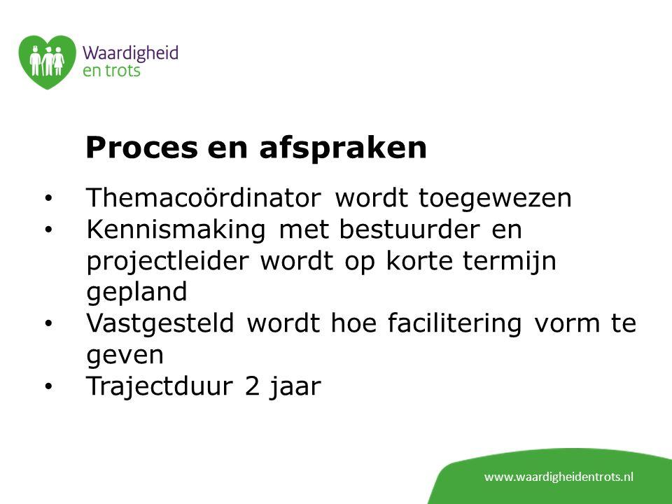 Proces en afspraken Themacoördinator wordt toegewezen Kennismaking met bestuurder en projectleider wordt op korte termijn gepland Vastgesteld wordt ho