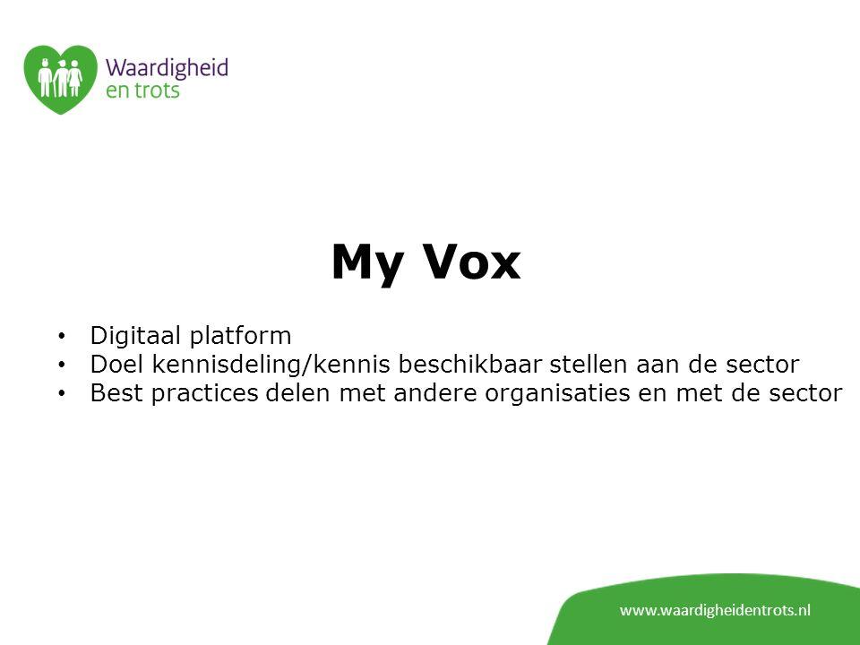 My Vox www.waardigheidentrots.nl Digitaal platform Doel kennisdeling/kennis beschikbaar stellen aan de sector Best practices delen met andere organisa