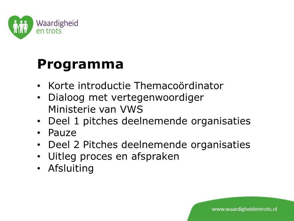 Programma Korte introductie Themacoördinator Dialoog met vertegenwoordiger Ministerie van VWS Deel 1 pitches deelnemende organisaties Pauze Deel 2 Pit