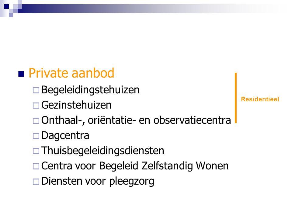 Private aanbod  Begeleidingstehuizen  Gezinstehuizen  Onthaal-, oriëntatie- en observatiecentra  Dagcentra  Thuisbegeleidingsdiensten  Centra voor Begeleid Zelfstandig Wonen  Diensten voor pleegzorg Residentieel