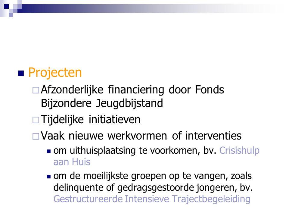 Projecten  Afzonderlijke financiering door Fonds Bijzondere Jeugdbijstand  Tijdelijke initiatieven  Vaak nieuwe werkvormen of interventies om uithuisplaatsing te voorkomen, bv.